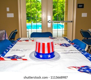 American Hat on Table at Clubhouse