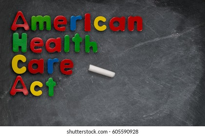American Health Care Act illustration on chalkboard