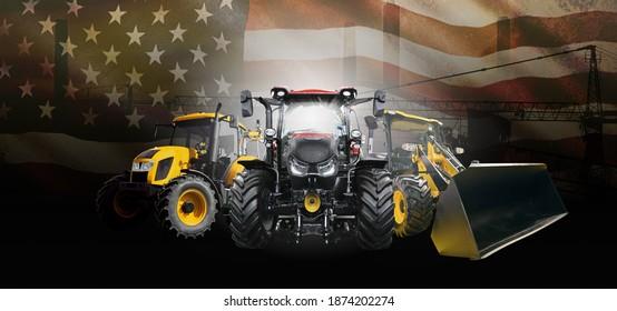 Amerikanische Banner-Vorlage für Schwertransporte mit breiter Front - Front-View mit modernen Industriefahrzeugen auf Baustellenhintergrund gemischt mit einer farbigen Flagge der USA mit Kopienraum für Ihren Text