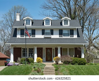 American Home with Dormers & Open Porch