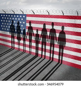 American immigration and United States refugee crisis concept as people on a border wall with a US flag as a social issue on refugees or illegal immigrants with the shadow of a group of migrants.