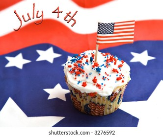 American Independence Day  - red, white, blue with text - cupcake decorated for celebration.