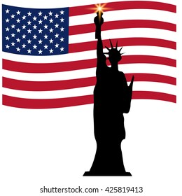 American Independence Day, the Statue of Liberty, US symbols, raster illustration