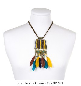 American indian necklace with colored feathers and beads