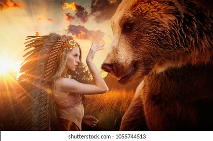 American Indian with plume of feathers next to a brown bear, concept of peace and balance with nature, environment and care of the planet earth