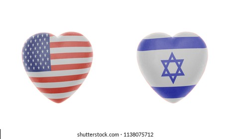 American and Israel Flags Heart. Partnership between America and Israel countries concept. isolated on a white background