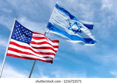 American and Israeli flags in Jerusalem, Israel