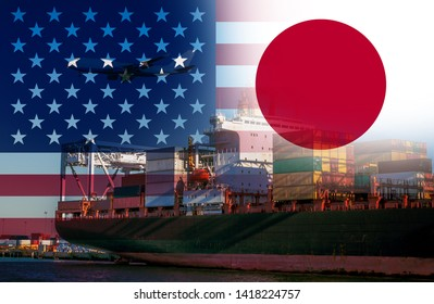 The American and Japanese flags imposed over shipping containers at a port with a plane flying over representing trade between the two countries.