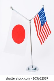 American and Japanese table flag isolated on white