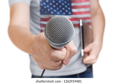 American journalist holding a microphone, isolated on white background