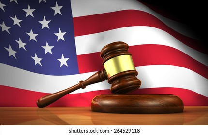American law and justice concept with a 3d rendering of a gavel on a wooden desktop and the United States Of America flag on background.