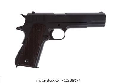 American legendary pistol on white background military model