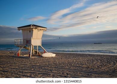 American Lifeguard Beach Hut On Fort Lauderdale Beach Miami Florida