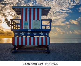 The American lifeguard stand of Miami beach, early in the morning, backlighting