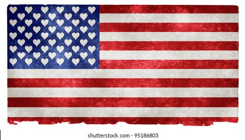 American Love Grunge (a grunge textured flag of the US with 50 hearts instead of stars)