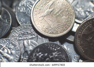 American metal coins background