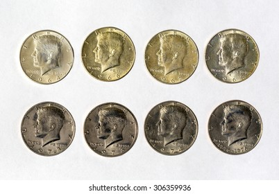 American metal money. coins, currency. White background