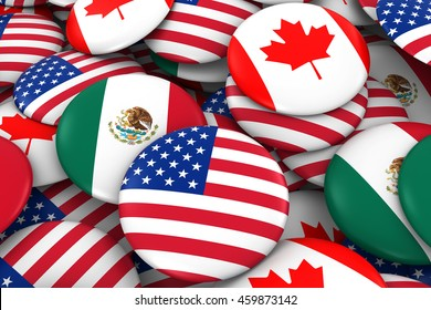 American, Mexican and Canada Flag Badge Pile Background 3D Illustration