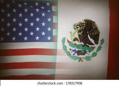 American and Mexican flags together
