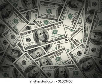 American Money in 100.00 bills piled high and waiting to be picked up