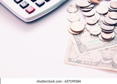 American money dollar with calculator on white background with copy space