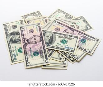 american money dollars banknotes bills on white background
