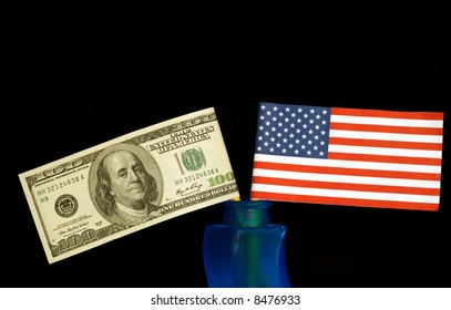 American money and flag
