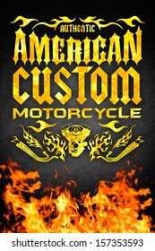 American motorcycle grunge poster with fire - card - poster design