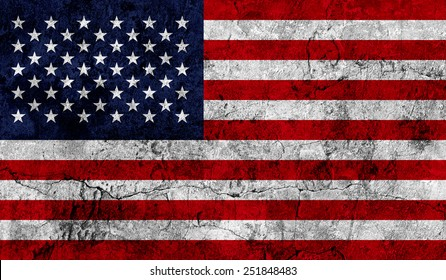 American national flag on an old worn weathered wall texture