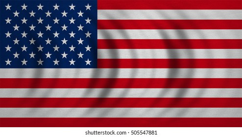 American national official flag. Symbol of the United States. Patriotic US banner, element. design, background. Flag of USA wavy with real detailed fabric texture. Accurate size, color, illustration
