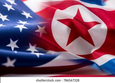 American and north korea flag.