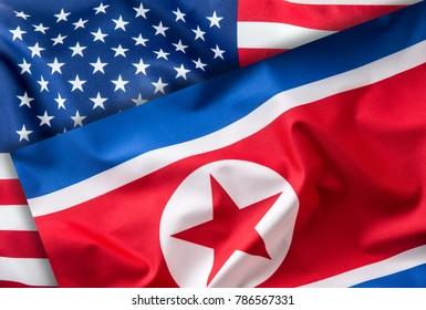 American and north korea flag.