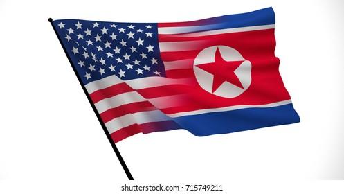 American and North Korean Flag, Floating Flag, Political Relations, Strategic Relations, 3D Render