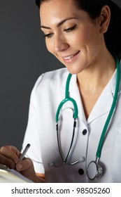 American nurse with stethoscope and clipboard