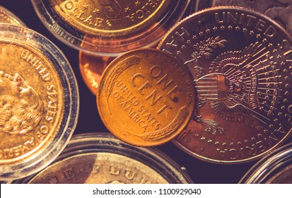 American One Cent Coin. Collectible Coins Closeup Photo. American Monetary System.