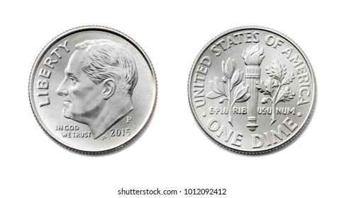 american One dime, USA ten cent, 10 c coin isolate on white background. President Franklin D. Roosevelt on silver dollar coin realistic photo image - both sides