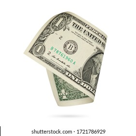 American paper currency. One dollar isolated on white with clipping path