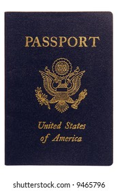 American passport cover close up isolated on white