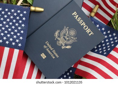 American passport,, United State, flags as background