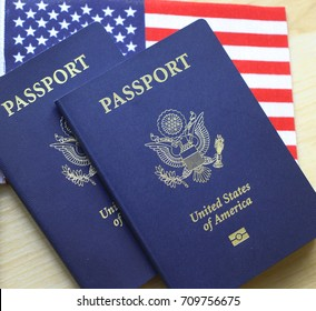 American passport, US passport with flag, wood as background