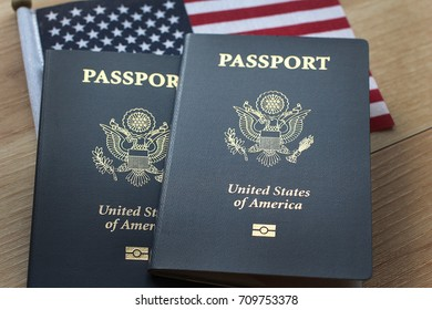 American passport wood and flag as background