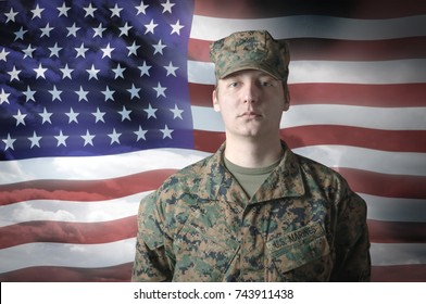 American patriotic soldier against usa flag.