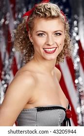 American pinup blonde girl