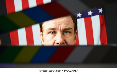 American politician with clapper board