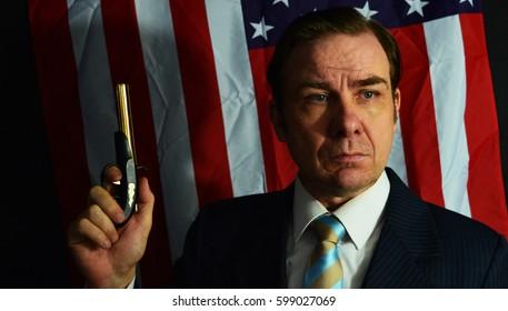 American politician with gun