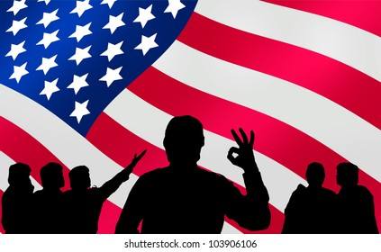 American presidential elections - silhouette crowd and advertising banner