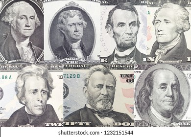 American presidents set  portrait on dollar bill  closeup