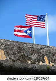 American and Puerto Rican Flags
