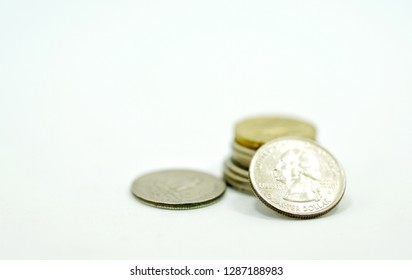 American Quarter dollar coin isolated on white background - Image