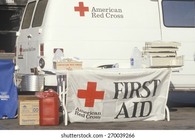American Red Cross Volunteers at First Aid booth, Los Angeles, California